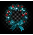 Blue tree branch in the form of a Christmas wreath vector image vector image