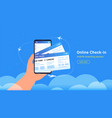 boarding pass mobile add for online check-in and vector image