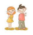 boy girl love hand drawn cartoon vector image vector image