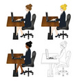 business woman sitting with laptop vector image vector image