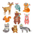cartoon tribal animals cute woodland vector image