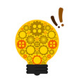 conceptual lightbulb icon with gear pieces vector image vector image