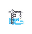 construction site thin line stroke icon vector image vector image