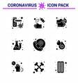 corona virus disease 9 solid glyph black icon vector image vector image