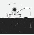 cosmonaut is fishing in space sea vector image vector image
