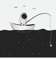 cosmonaut is fishing in the space sea vector image vector image