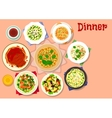 Dinner dishes with dessert icon for menu design vector image vector image