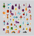 flat set fabulous magical halloween vector image
