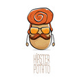 funny cartoon cute brown hipster potato vector image