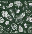 green vegetables seamless pattern hand drawn food vector image