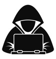 hacker laptop icon simple style vector image