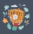 hand in baseball glove vector image