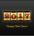 happy new year 2017 greeting card with slot vector image vector image