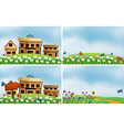 Houses and nature vector image vector image
