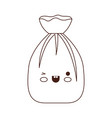 kawaii garbage bag tied in brown silhouette vector image