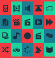 media icons set with joystick musical note vector image vector image