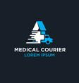 medical courier logo designs vector image vector image