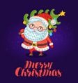 merry christmas greeting card cute santa claus vector image vector image