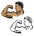 muscular male flexing bicep arm muscle vector image
