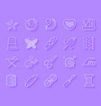 needlework simple paper cut icons set vector image