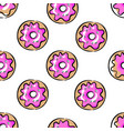 pink donuts seamless pattern on white decorative vector image vector image