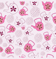 pink teapots seamless pattern design vector image vector image