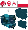 Poland map with named divisions vector image vector image