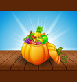 pumpkin basket full of fruits and vegetables on wo vector image
