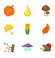 rain season icons set cartoon style vector image vector image