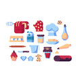 set confectioner tools and sweets vector image vector image