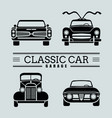 set front view classic car icon vector image vector image