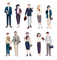 set of business people men and women in office vector image vector image