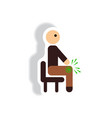 stylish icon in paper sticker style man knee pain vector image vector image