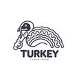 Stylized abstract side view turkey graphic logo vector image