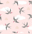 swallows birds carrying hearts in flight pattern vector image vector image