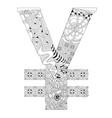 symbol of yen zentangle decorative number vector image vector image