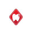 teeth care symbol in rhombus shape vector image vector image
