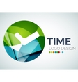 Time clock logo design made of color pieces vector image