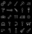 Tool line icons on black background vector image vector image
