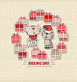 two cute cats gift boxes and text boxing day vector image
