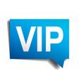 vip blue 3d realistic paper speech bubble vector image vector image