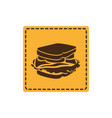 yellow emblem sticker sandwich icon vector image vector image