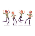 young red-haired man woman in positive emotions vector image vector image