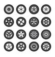 Black Tire Wheels Icon Set vector image