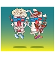 Popcorn and Coca watch the 3D movie vector image