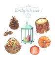 Set of watercolor cute autumn elements vector image