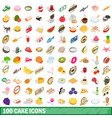 100 cake icons set isometric 3d style vector image vector image