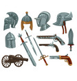 ancient swords weaponry and armor for knights vector image