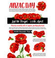 anzac day lest we forget red poppy poster vector image vector image