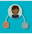 avatar woman with social media and network icons vector image vector image